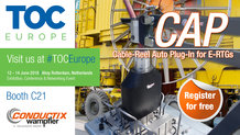 Conductix-Wampfler showcases CAP – Cable-Reel Auto-Plug-In solution for E-RTGs at TOC Europe